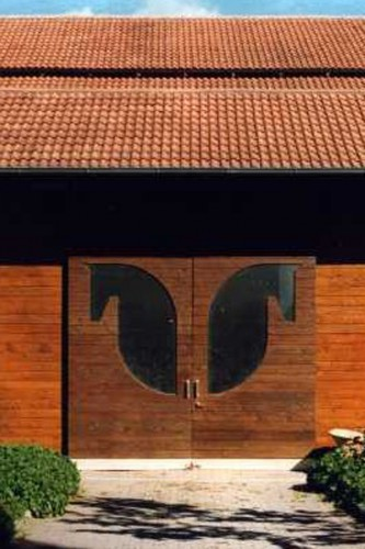 Projektbild Neubau einer Reithalle auf dem Batzenhof in Karlsruhe Durlach mit Link zur Projektseite