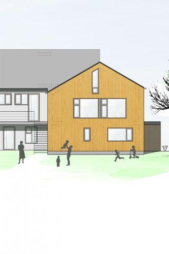 Projektbild Erweiterung und Sanierung eines Kindergartens in Unterlengenhardt mit Link zur Projektseite